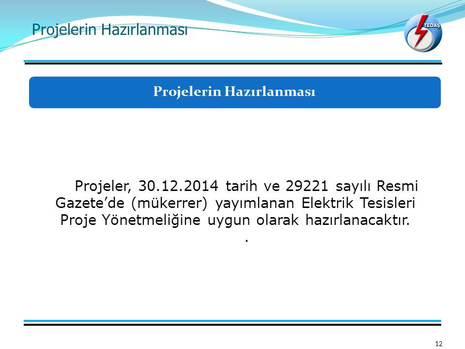 Projelerin Hazırlanması 12 Projeler, 30.12.2014 tarih ve 29221 sayılı Resmi Gazete'de (mükerrer) yayımlanan Elektrik Tesisleri Proje Yönetmeliğine uyg