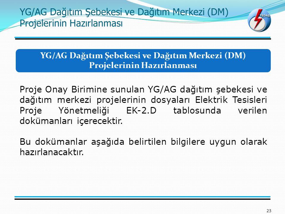 YG/AG Dağıtım Şebekesi ve Dağıtım Merkezi (DM) Projelerinin Hazırlanması 23 Proje Onay Birimine sunulan YG/AG dağıtım şebekesi ve dağıtım merkezi proj