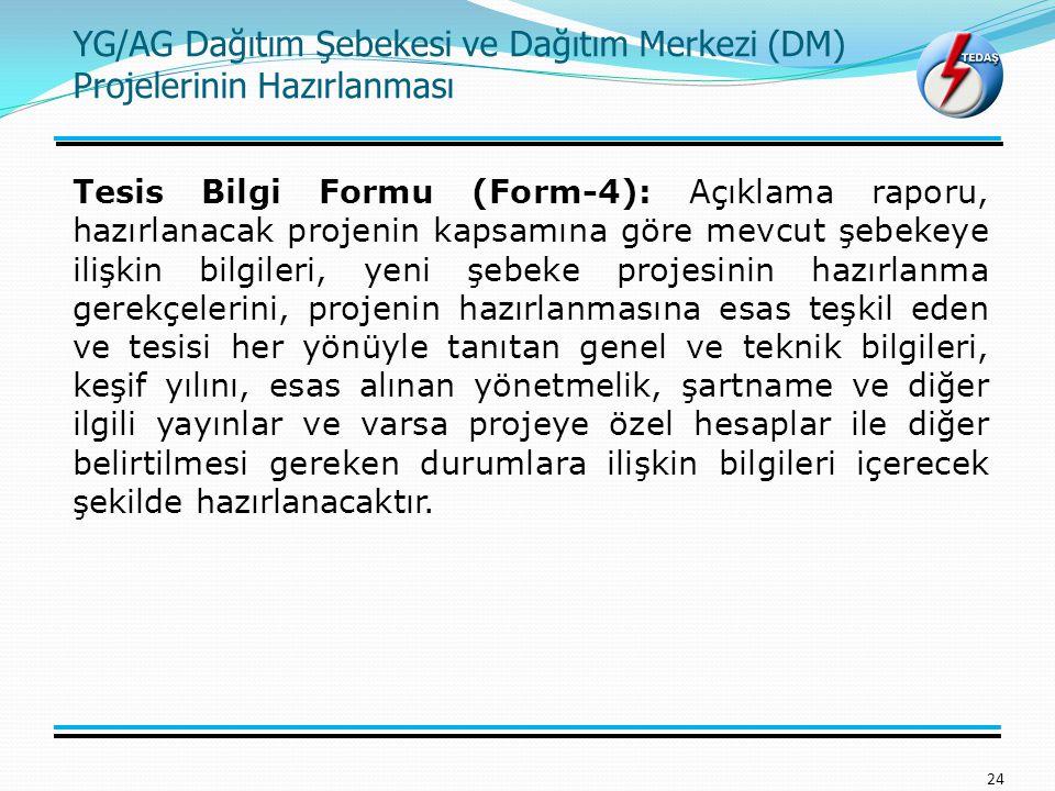 24 Tesis Bilgi Formu (Form-4): Açıklama raporu, hazırlanacak projenin kapsamına göre mevcut şebekeye ilişkin bilgileri, yeni şebeke projesinin hazırla