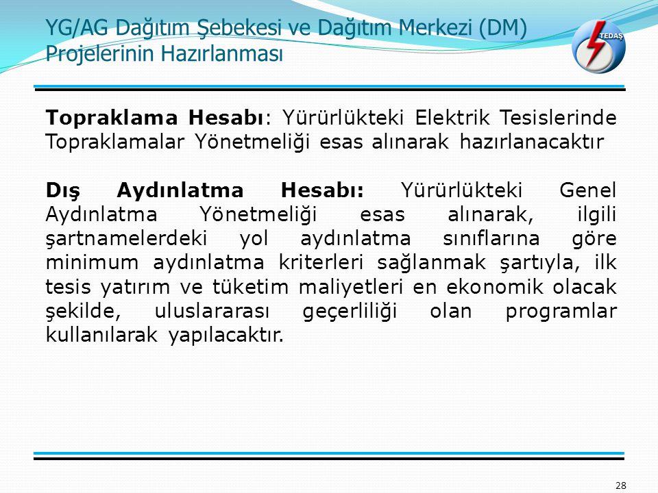 YG/AG Dağıtım Şebekesi ve Dağıtım Merkezi (DM) Projelerinin Hazırlanması 28 Topraklama Hesabı: Yürürlükteki Elektrik Tesislerinde Topraklamalar Yönetm