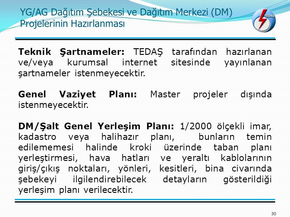 YG/AG Dağıtım Şebekesi ve Dağıtım Merkezi (DM) Projelerinin Hazırlanması 30 Teknik Şartnameler: TEDAŞ tarafından hazırlanan ve/veya kurumsal internet sitesinde yayınlanan şartnameler istenmeyecektir.