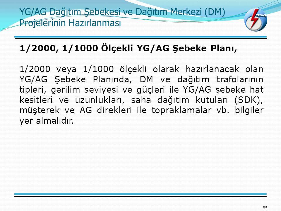 YG/AG Dağıtım Şebekesi ve Dağıtım Merkezi (DM) Projelerinin Hazırlanması 35 1/2000, 1/1000 Ölçekli YG/AG Şebeke Planı, 1/2000 veya 1/1000 ölçekli olarak hazırlanacak olan YG/AG Şebeke Planında, DM ve dağıtım trafolarının tipleri, gerilim seviyesi ve güçleri ile YG/AG şebeke hat kesitleri ve uzunlukları, saha dağıtım kutuları (SDK), müşterek ve AG direkleri ile topraklamalar vb.