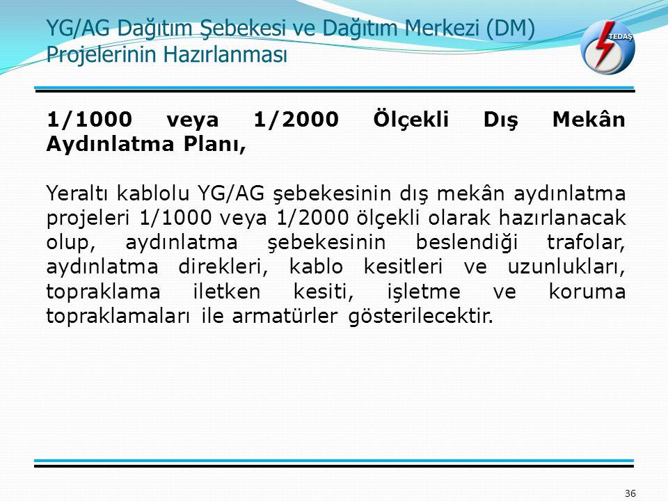 YG/AG Dağıtım Şebekesi ve Dağıtım Merkezi (DM) Projelerinin Hazırlanması 36 1/1000 veya 1/2000 Ölçekli Dış Mekân Aydınlatma Planı, Yeraltı kablolu YG/