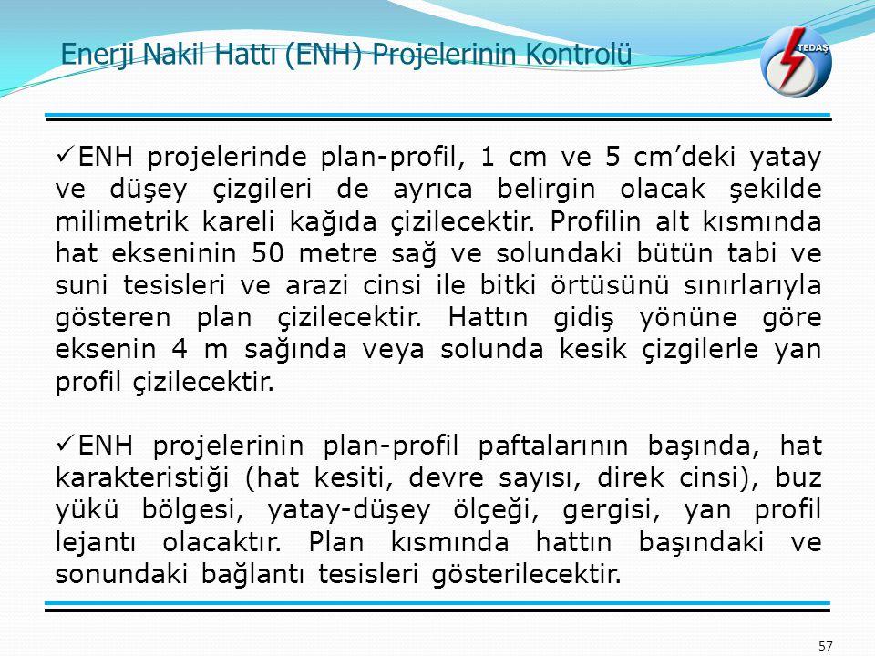 57 ENH projelerinde plan-profil, 1 cm ve 5 cm'deki yatay ve düşey çizgileri de ayrıca belirgin olacak şekilde milimetrik kareli kağıda çizilecektir. P