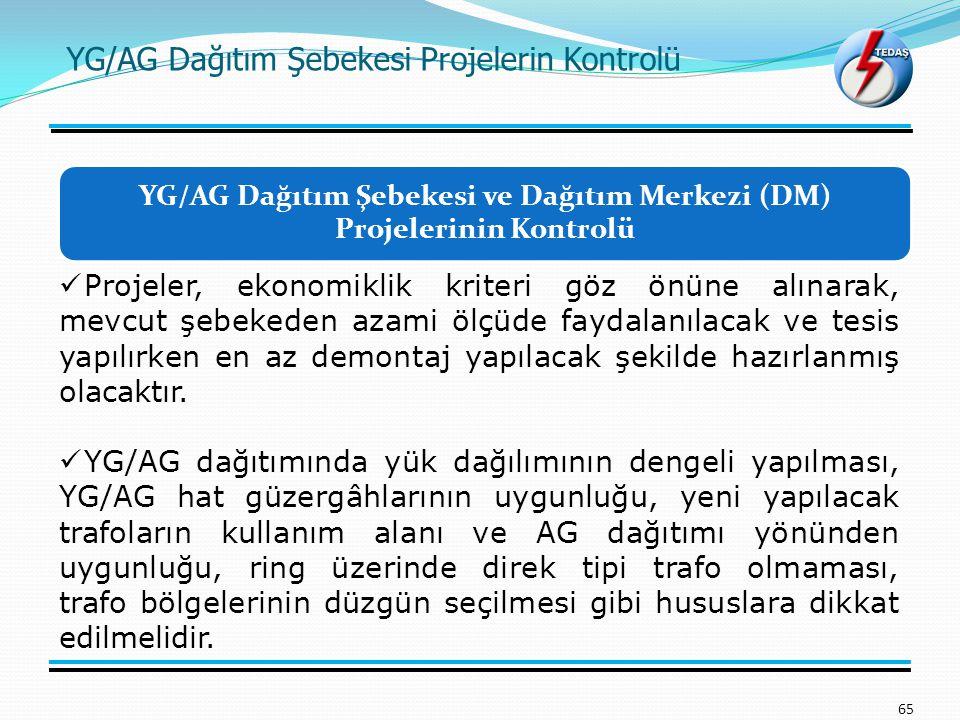 YG/AG Dağıtım Şebekesi Projelerin Kontrolü 65 Projeler, ekonomiklik kriteri göz önüne alınarak, mevcut şebekeden azami ölçüde faydalanılacak ve tesis yapılırken en az demontaj yapılacak şekilde hazırlanmış olacaktır.