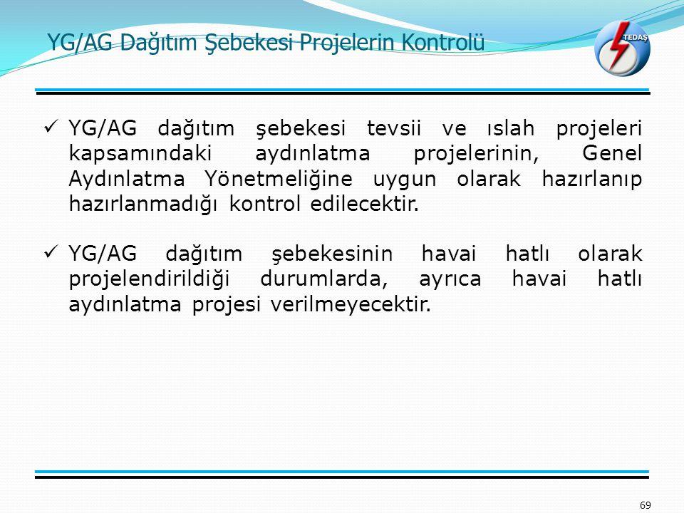 YG/AG Dağıtım Şebekesi Projelerin Kontrolü 69 YG/AG dağıtım şebekesi tevsii ve ıslah projeleri kapsamındaki aydınlatma projelerinin, Genel Aydınlatma Yönetmeliğine uygun olarak hazırlanıp hazırlanmadığı kontrol edilecektir.