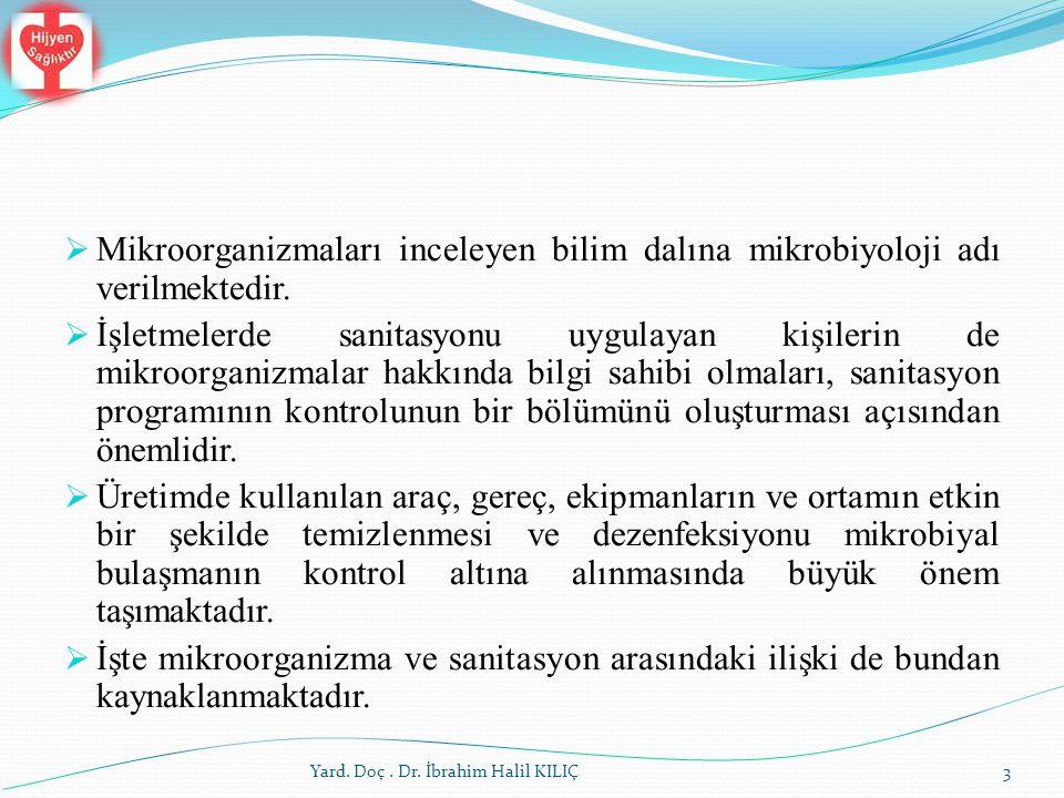 Yard. Doç. Dr. İbrahim Halil KILIÇ  Mikroorganizmaları inceleyen bilim dalına mikrobiyoloji adı verilmektedir.  İşletmelerde sanitasyonu uygulayan