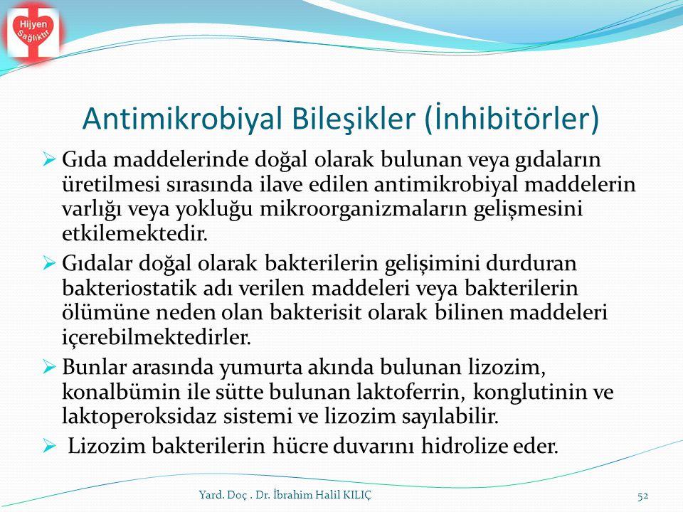 Antimikrobiyal Bileşikler (İnhibitörler)  Gıda maddelerinde doğal olarak bulunan veya gıdaların üretilmesi sırasında ilave edilen antimikrobiyal madd