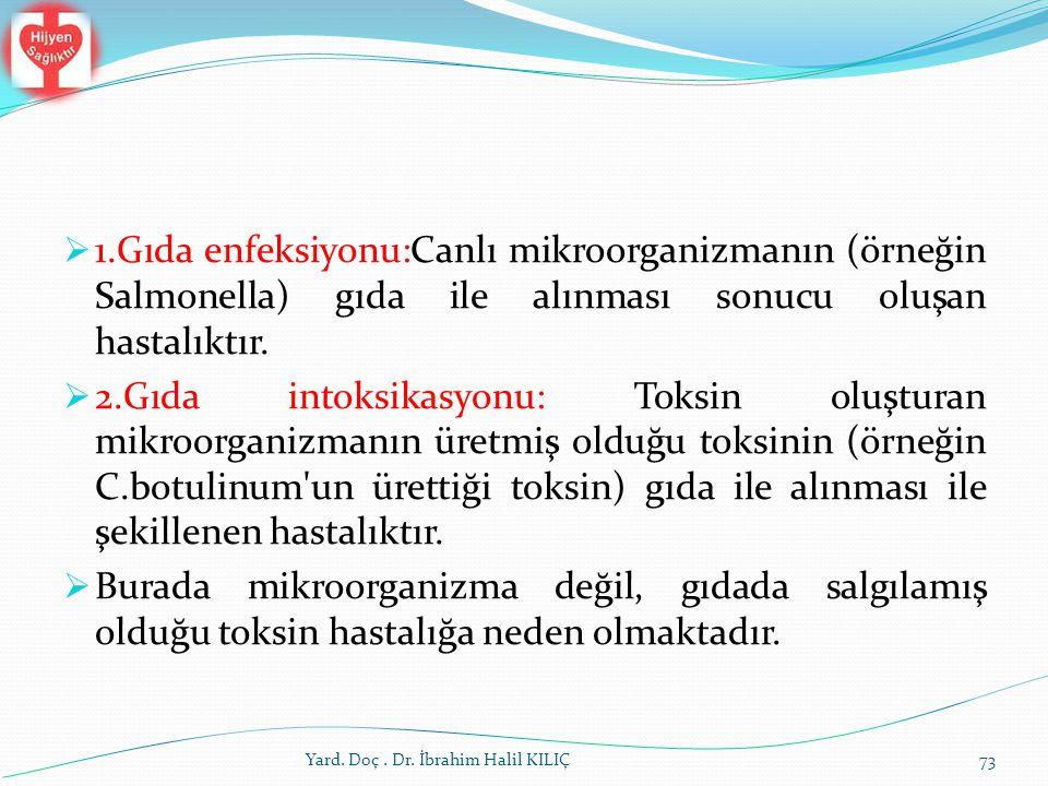  1.Gıda enfeksiyonu:Canlı mikroorganizmanın (örneğin Salmonella) gıda ile alınması sonucu oluşan hastalıktır.  2.Gıda intoksikasyonu: Toksin oluştur