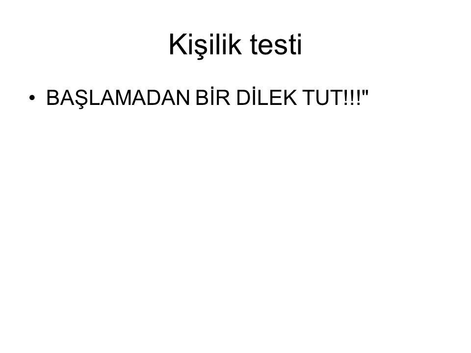 Kişilik testi BAŞLAMADAN BİR DİLEK TUT!!!
