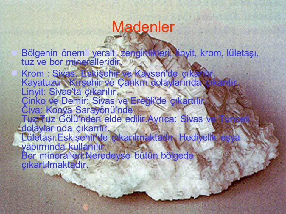 Bölgenin önemli yeraltı zenginlikleri, linyit, krom, lületaşı, tuz ve bor mineralleridir. Krom : Sivas, Eskişehir ve Kayseri'de çıkarılır. Kayatuzu :