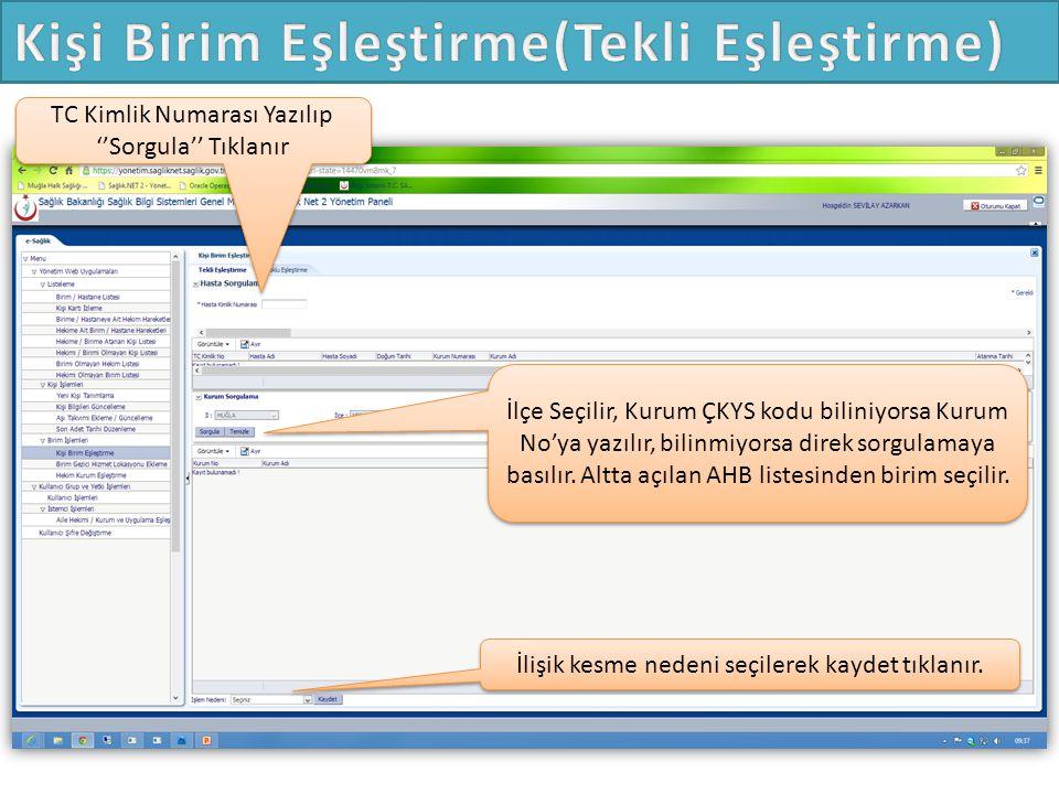 TC Kimlik Numarası Yazılıp ''Sorgula'' Tıklanır İlçe Seçilir, Kurum ÇKYS kodu biliniyorsa Kurum No'ya yazılır, bilinmiyorsa direk sorgulamaya basılır.