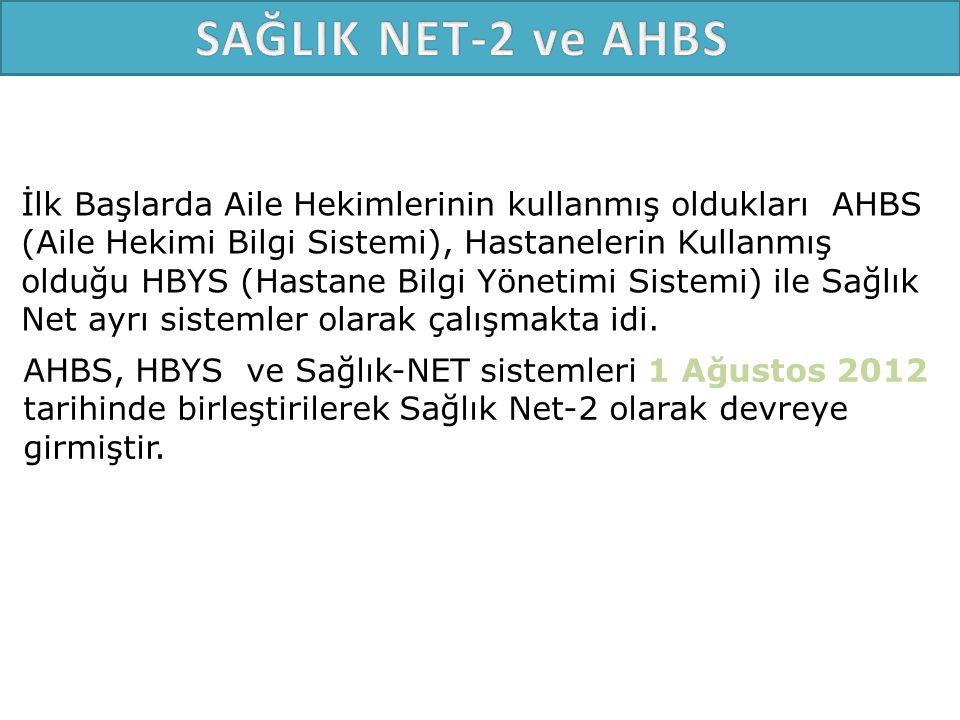 AHBS, HBYS ve Sağlık-NET sistemleri 1 Ağustos 2012 tarihinde birleştirilerek Sağlık Net-2 olarak devreye girmiştir.