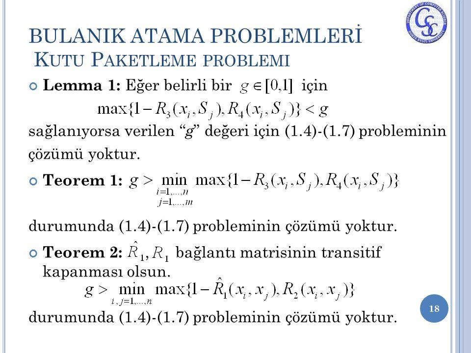 """Lemma 1: Eğer belirli bir için sağlanıyorsa verilen """" g """" değeri için (1.4)-(1.7) probleminin çözümü yoktur. Teorem 1: durumunda (1.4)-(1.7) problemin"""