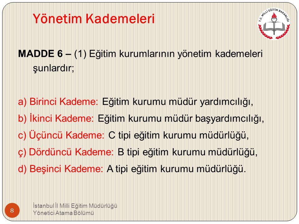İKİNCİ BÖLÜM Temel İlkeler, Yönetim Kademeleri ve Yönetici Olarak Atanacaklarda Aranacak Genel ve Özel Şartlar Temel ilkeler MADDE 5 – (1) Eğitim kuru
