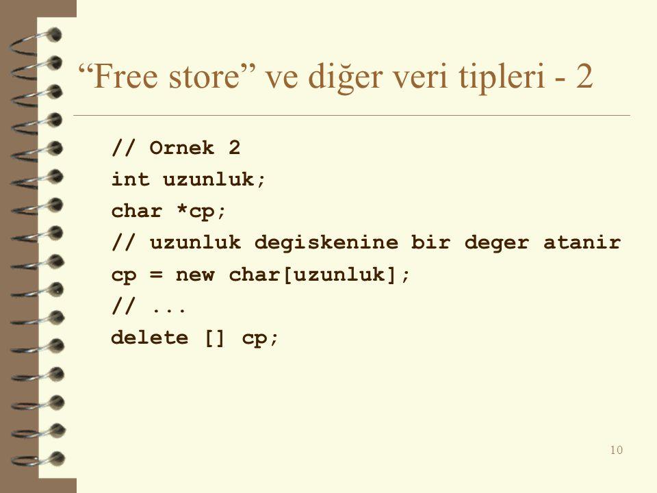 """""""Free store"""" ve diğer veri tipleri - 2 // Ornek 2 int uzunluk; char *cp; // uzunluk degiskenine bir deger atanir cp = new char[uzunluk]; //... delete"""