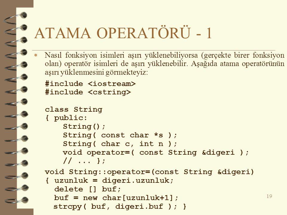ATAMA OPERATÖRÜ - 1  Nasıl fonksiyon isimleri aşırı yüklenebiliyorsa (gerçekte birer fonksiyon olan) operatör isimleri de aşırı yüklenebilir. Aşağıda