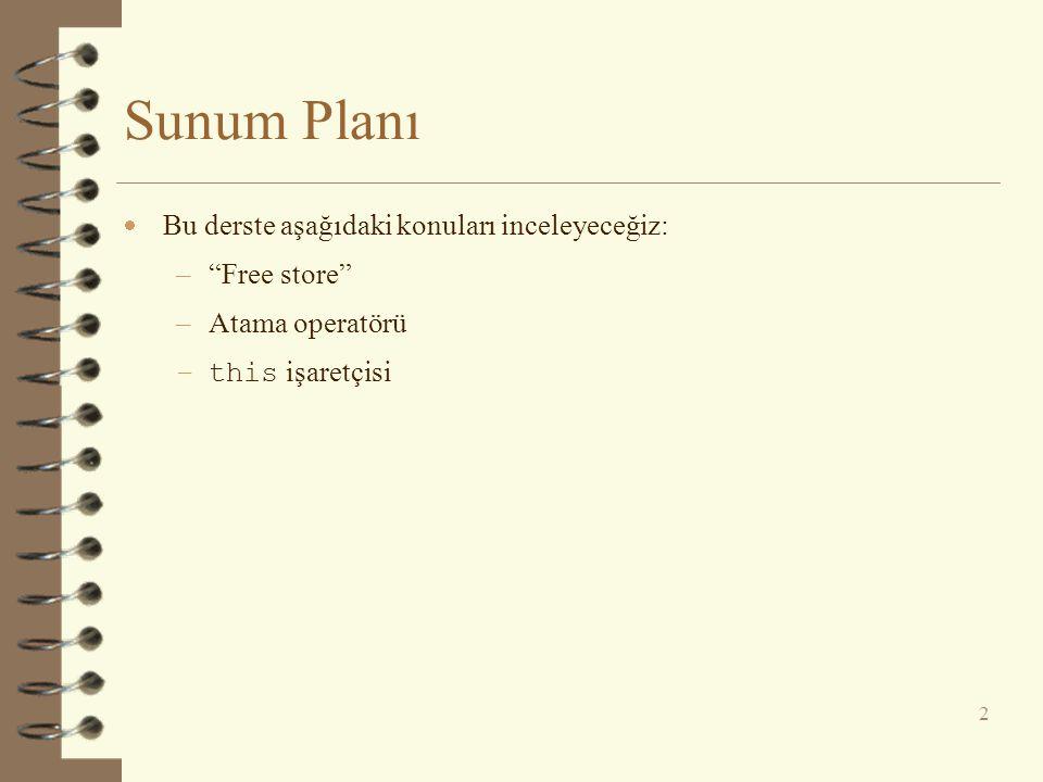 """Sunum Planı  Bu derste aşağıdaki konuları inceleyeceğiz: –""""Free store"""" –Atama operatörü –this işaretçisi 2"""