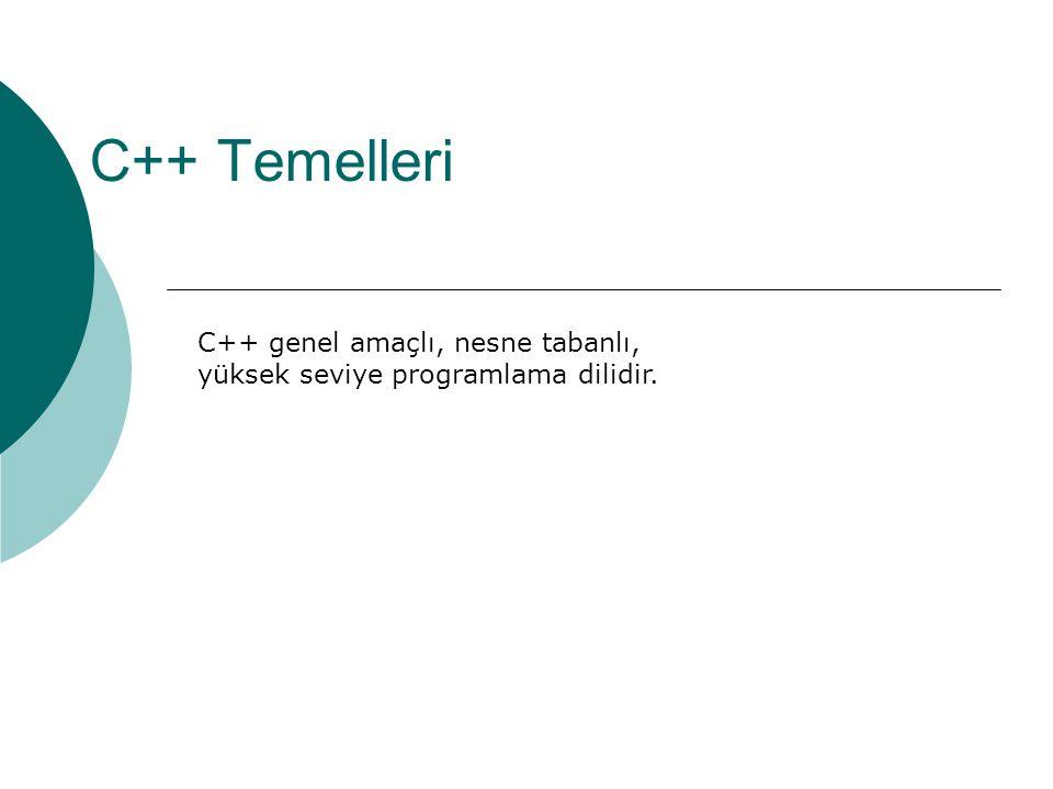Örnek program  Adım 2: yapılacakları sırayla sözel olarak yazalım: #include void main() { // kullanıcıdan yarıçapı oku // alanı hesapla // çevreyi hesapla // sonuçları göster }