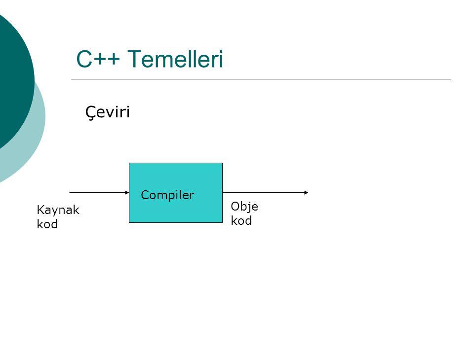 C++ Temelleri  Kaynak kod: Kurallara göre yazılmış komutları içeren bir metin dosyasıdır.