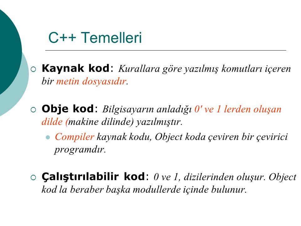 C++ Temelleri Kaynak kod Obje kod Compiler (Derleyici) Linker (Bağlayıcı) Çalıştırılabi lir kod Çevirici Diğer modüller