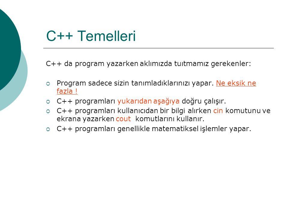 C++ Temel Kuralları  C++ programlarında kullanılan sözcüklerin (keywords) özel anlamları vardır.