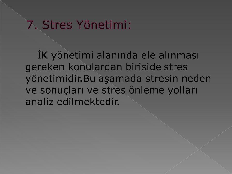 İK yönetimi alanında ele alınması gereken konulardan biriside stres yönetimidir.Bu aşamada stresin neden ve sonuçları ve stres önleme yolları analiz edilmektedir.
