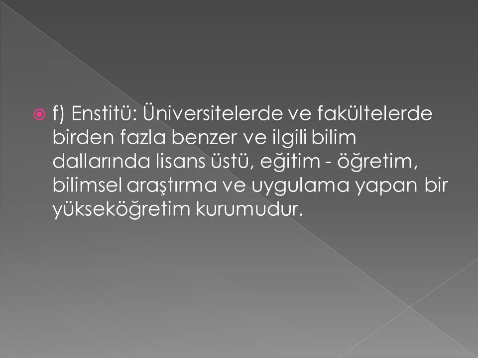  f) Enstitü: Üniversitelerde ve fakültelerde birden fazla benzer ve ilgili bilim dallarında lisans üstü, eğitim - öğretim, bilimsel araştırma ve uygulama yapan bir yükseköğretim kurumudur.