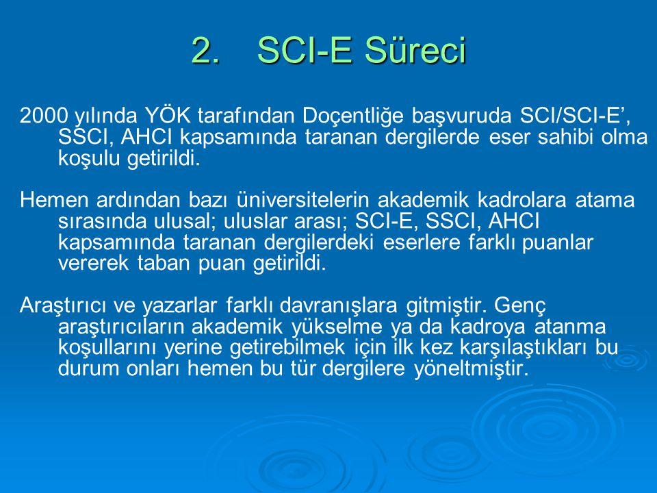 2.SCI-E Süreci 2000 yılında YÖK tarafından Doçentliğe başvuruda SCI/SCI-E', SSCI, AHCI kapsamında taranan dergilerde eser sahibi olma koşulu getirildi