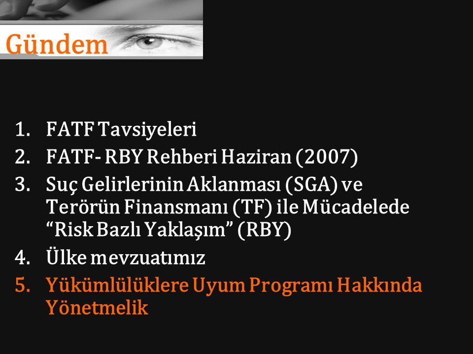 """Gündem 1.FATF Tavsiyeleri 2.FATF- RBY Rehberi Haziran (2007) 3.Suç Gelirlerinin Aklanması (SGA) ve Terörün Finansmanı (TF) ile Mücadelede """"Risk Bazlı"""