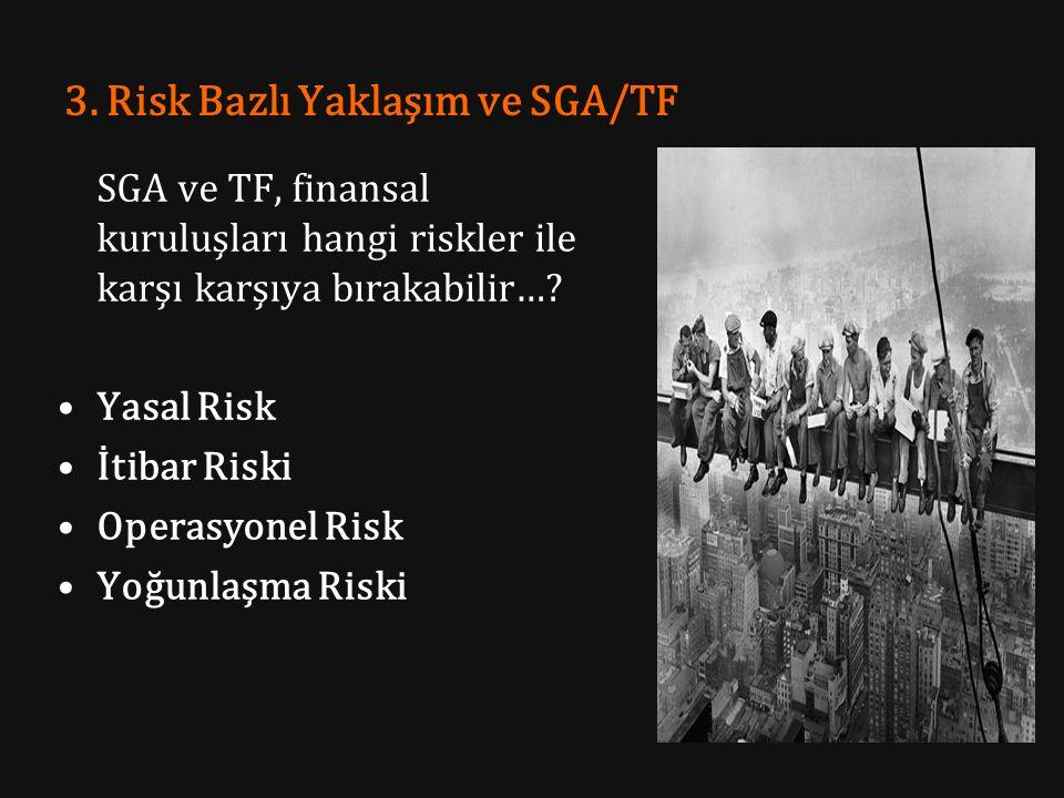 3. Risk Bazlı Yaklaşım ve SGA/TF SGA ve TF, finansal kuruluşları hangi riskler ile karşı karşıya bırakabilir…? Yasal Risk İtibar Riski Operasyonel Ris