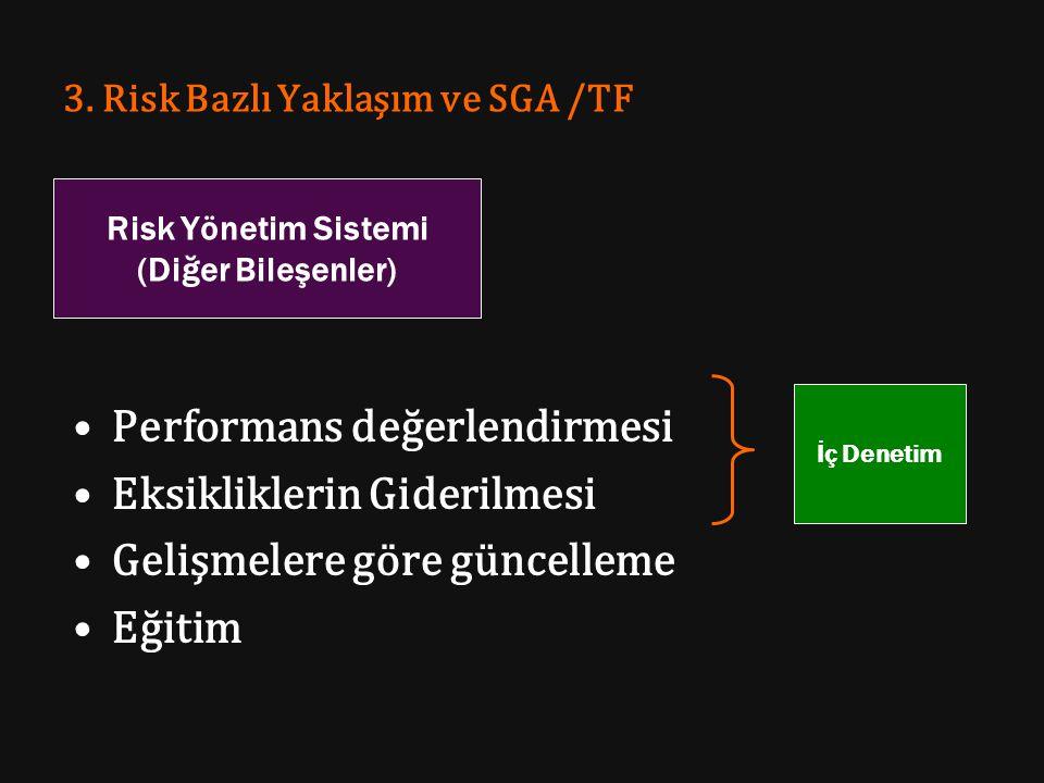 3. Risk Bazlı Yaklaşım ve SGA /TF Performans değerlendirmesi Eksikliklerin Giderilmesi Gelişmelere göre güncelleme Eğitim Risk Yönetim Sistemi (Diğer