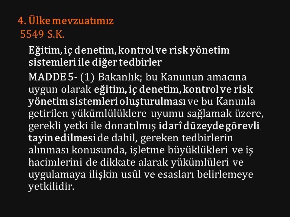 4. Ülke mevzuatımız 5549 S.K. Eğitim, iç denetim, kontrol ve risk yönetim sistemleri ile diğer tedbirler MADDE 5- (1) Bakanlık; bu Kanunun amacına uyg