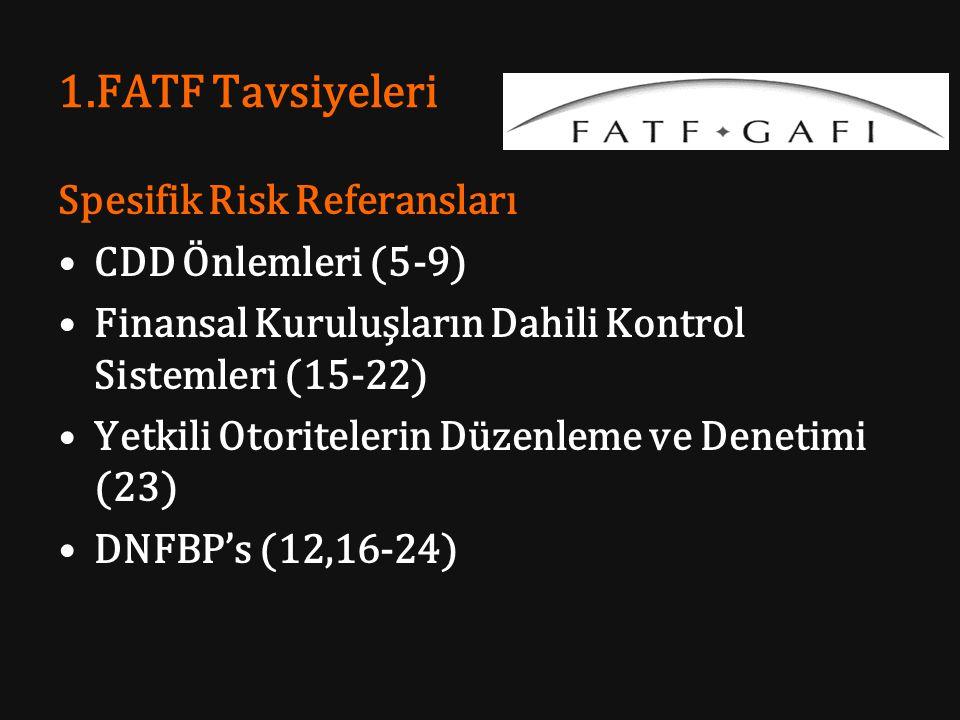 1.FATF Tavsiyeleri Spesifik Risk Referansları CDD Önlemleri (5-9) Finansal Kuruluşların Dahili Kontrol Sistemleri (15-22) Yetkili Otoritelerin Düzenle