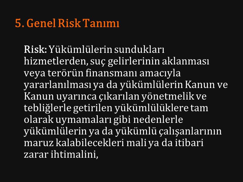 5. Genel Risk Tanımı Risk: Yükümlülerin sundukları hizmetlerden, suç gelirlerinin aklanması veya terörün finansmanı amacıyla yararlanılması ya da yükü