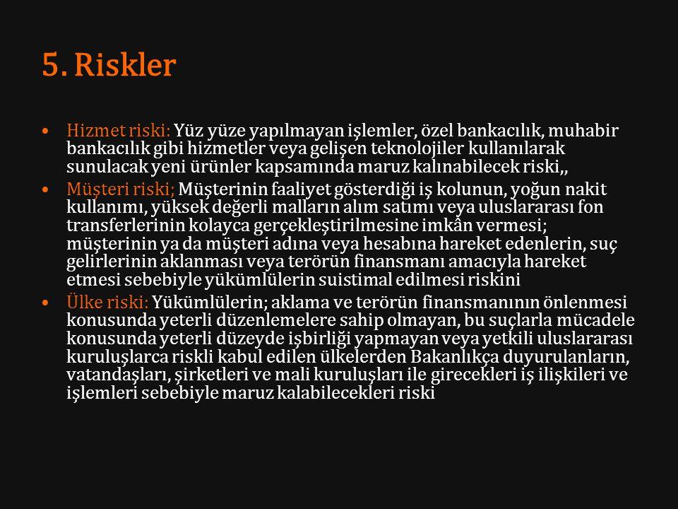 5. Riskler Hizmet riski: Yüz yüze yapılmayan işlemler, özel bankacılık, muhabir bankacılık gibi hizmetler veya gelişen teknolojiler kullanılarak sunul