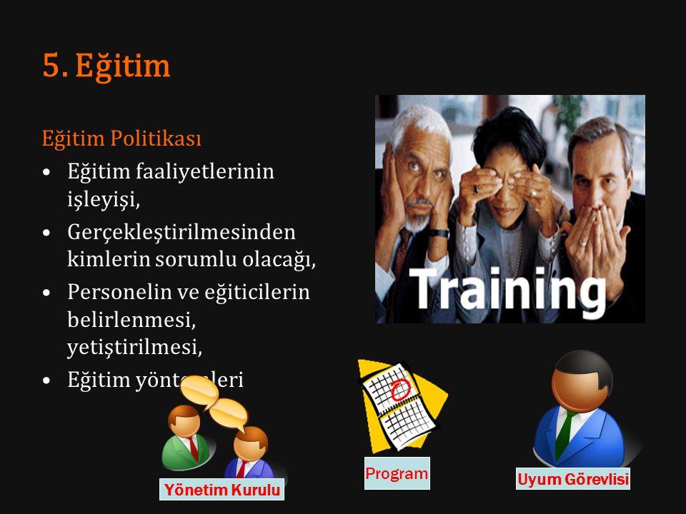 5. Eğitim Eğitim Politikası Eğitim faaliyetlerinin işleyişi, Gerçekleştirilmesinden kimlerin sorumlu olacağı, Personelin ve eğiticilerin belirlenmesi,