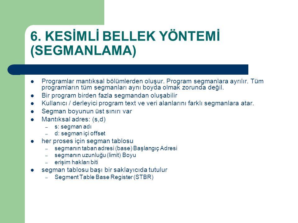 6.KESİMLİ BELLEK YÖNTEMİ (SEGMANLAMA) Programlar mantıksal bölümlerden oluşur.