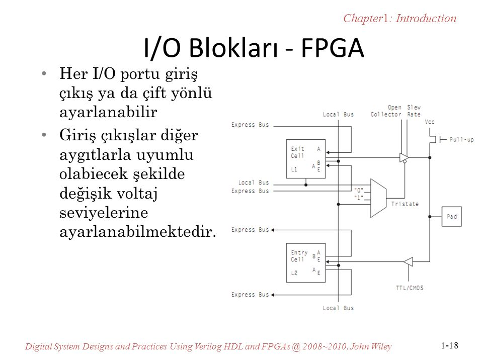 Chapter1: Introduction Digital System Designs and Practices Using Verilog HDL and FPGAs @ 2008~2010, John Wiley 1-18 I/O Blokları - FPGA Her I/O portu