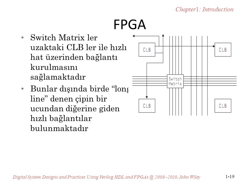 Chapter1: Introduction Digital System Designs and Practices Using Verilog HDL and FPGAs @ 2008~2010, John Wiley 1-19 FPGA Switch Matrix ler uzaktaki C