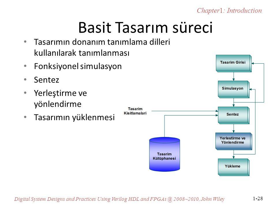 Chapter1: Introduction Digital System Designs and Practices Using Verilog HDL and FPGAs @ 2008~2010, John Wiley 1-28 Basit Tasarım süreci Tasarımın donanım tanımlama dilleri kullanılarak tanımlanması Fonksiyonel simulasyon Sentez Yerleştirme ve yönlendirme Tasarımın yüklenmesi
