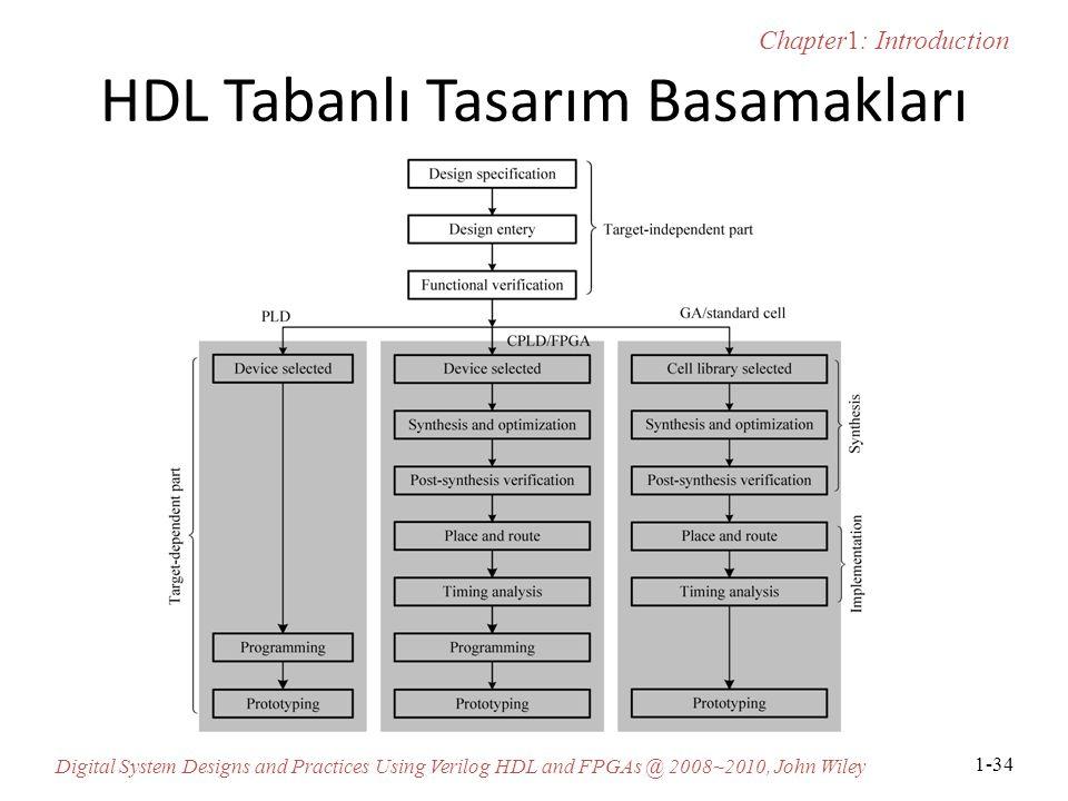 Chapter1: Introduction Digital System Designs and Practices Using Verilog HDL and FPGAs @ 2008~2010, John Wiley 1-34 HDL Tabanlı Tasarım Basamakları