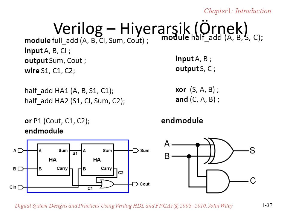 Chapter1: Introduction Digital System Designs and Practices Using Verilog HDL and FPGAs @ 2008~2010, John Wiley 1-37 Verilog – Hiyerarşik (Örnek) module full_add (A, B, CI, Sum, Cout) ; input A, B, CI ; output Sum, Cout ; wire S1, C1, C2; half_add HA1 (A, B, S1, C1); half_add HA2 (S1, CI, Sum, C2); or P1 (Cout, C1, C2); endmodule module half_add (A, B, S, C); input A, B ; output S, C ; xor (S, A, B) ; and (C, A, B) ; endmodule
