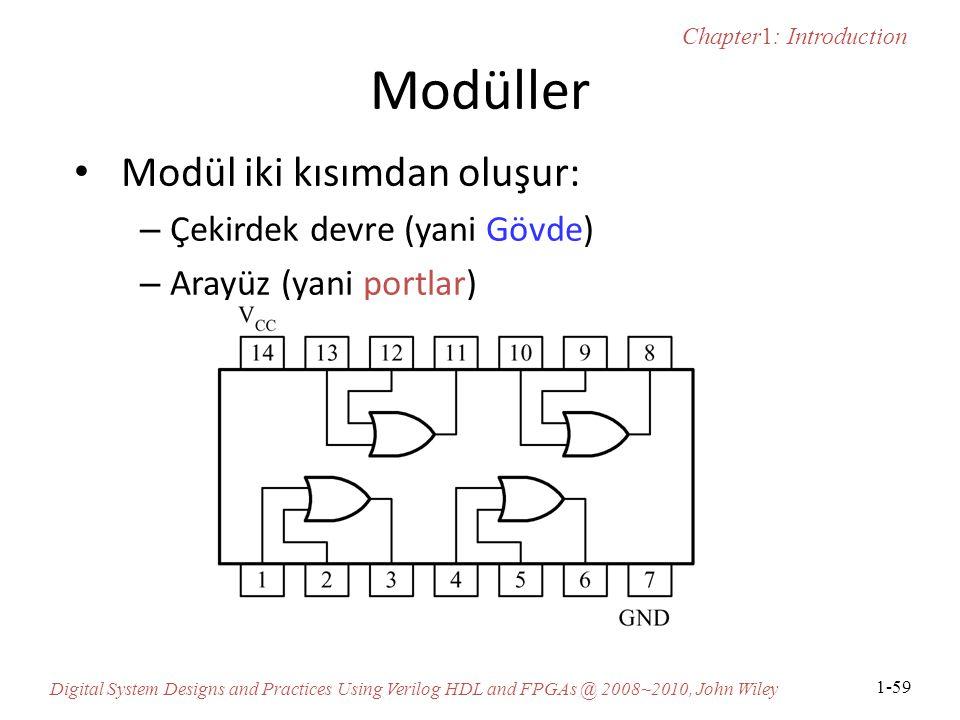 Chapter1: Introduction Digital System Designs and Practices Using Verilog HDL and FPGAs @ 2008~2010, John Wiley 1-59 Modüller Modül iki kısımdan oluşur: – Çekirdek devre (yani Gövde) – Arayüz (yani portlar)