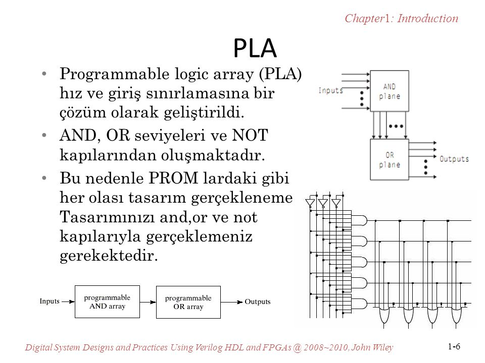 Chapter1: Introduction Digital System Designs and Practices Using Verilog HDL and FPGAs @ 2008~2010, John Wiley 1-6 PLA Programmable logic array (PLA)