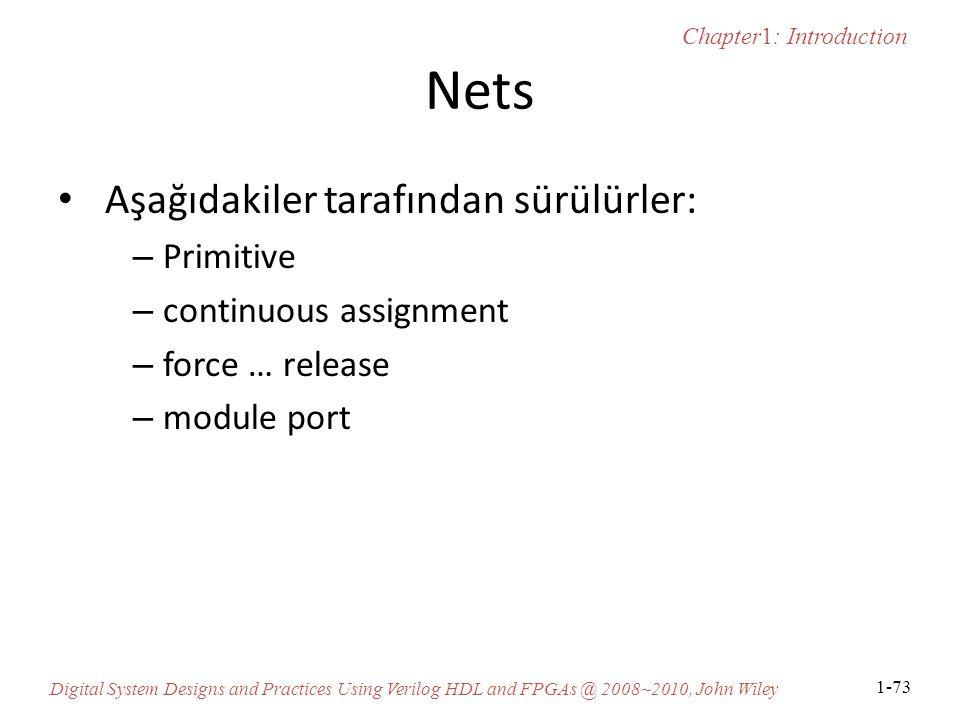 Chapter1: Introduction Digital System Designs and Practices Using Verilog HDL and FPGAs @ 2008~2010, John Wiley 1-73 Nets Aşağıdakiler tarafından sürülürler: – Primitive – continuous assignment – force … release – module port