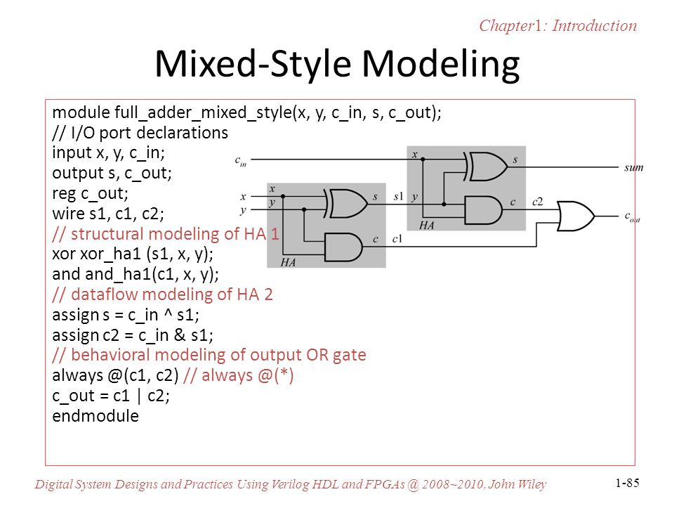 Chapter1: Introduction Digital System Designs and Practices Using Verilog HDL and FPGAs @ 2008~2010, John Wiley 1-85 Mixed-Style Modeling module full_