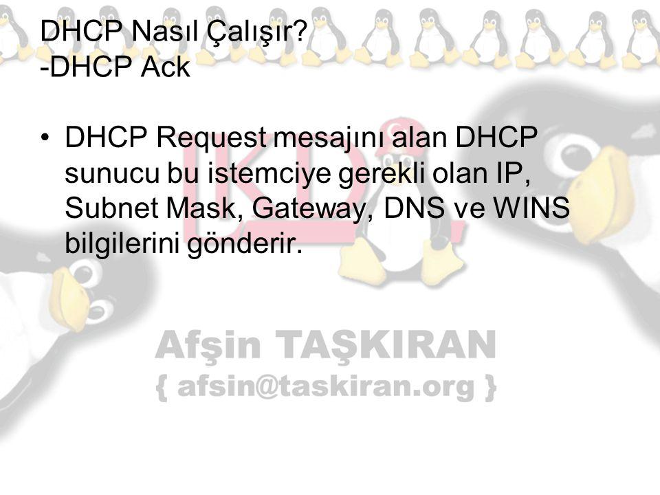 DHCP Nasıl Çalışır? -DHCP Ack DHCP Request mesajını alan DHCP sunucu bu istemciye gerekli olan IP, Subnet Mask, Gateway, DNS ve WINS bilgilerini gönde