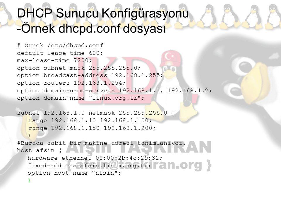 DHCP Sunucu Konfigürasyonu -Örnek dhcpd.conf dosyası # Ornek /etc/dhcpd.conf default-lease-time 600; max-lease-time 7200; option subnet-mask 255.255.2