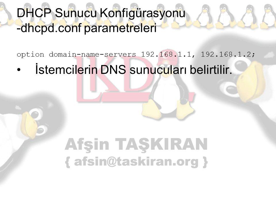DHCP Sunucu Konfigürasyonu -dhcpd.conf parametreleri option domain-name-servers 192.168.1.1, 192.168.1.2; İstemcilerin DNS sunucuları belirtilir.